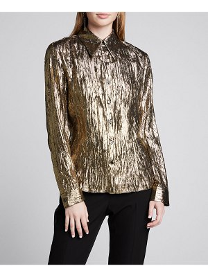 Michael Kors Collection Crushed Metallic Button-Front Shirt
