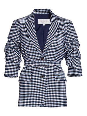 Michael Kors Collection crushed-sleeve fitted plaid blazer