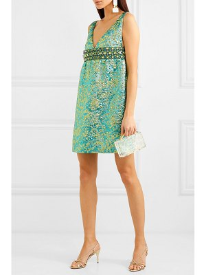 Michael Kors Collection crystal-embellished metallic brocade mini dress