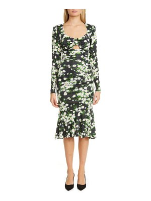 Michael Kors Collection daisy print ruched long sleeve midi dress