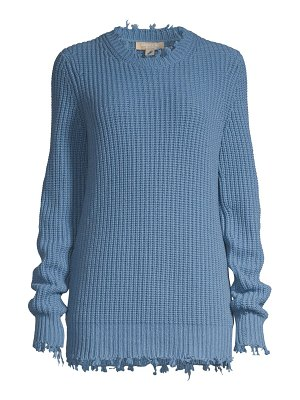 Michael Kors Collection distressed shaker knit cashmere pullover sweater