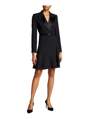 Michael Kors Collection Double-Breasted Crepe Belted Coat Dress
