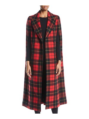 Michael Kors Collection Double-Breasted Tartan Plaid Cape Coat