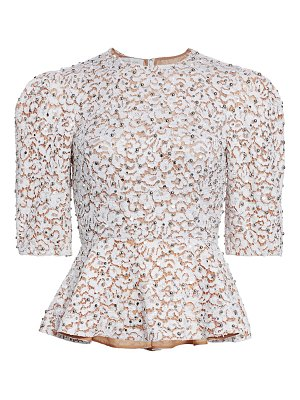 Michael Kors Collection embellished lace peplum top