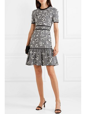 Michael Kors Collection embellished ruffled checked stretch-knit mini dress