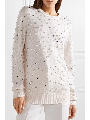 Michael Kors Collection faux pearl and crystal-embellished cashmere sweater
