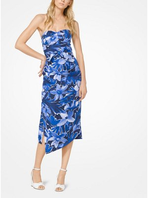 Michael Kors Collection Floral Douppioni Strapless Dress
