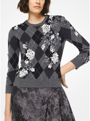 Michael Kors Collection Floral Embroidered Argyle Cashmere Pullover