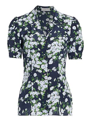 Michael Kors Collection floral puff-sleeve silk blouse