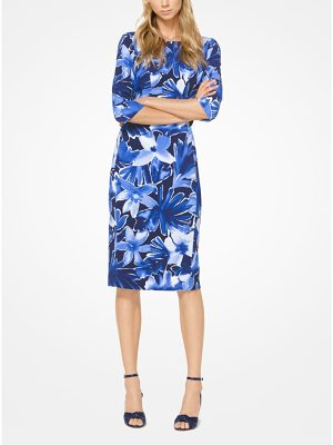 Michael Kors Collection Floral Stretch-Cady Sheath Dress