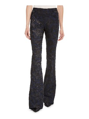 Michael Kors Collection Floral Stretch Metallic-Brocade Flared-Leg Pants