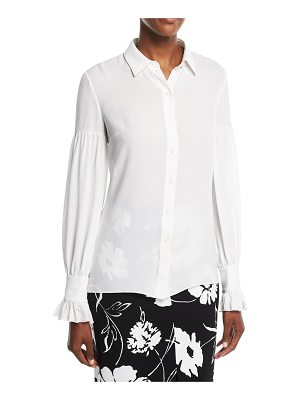 Michael Kors Collection Gathered-Sleeve Silk Shirt