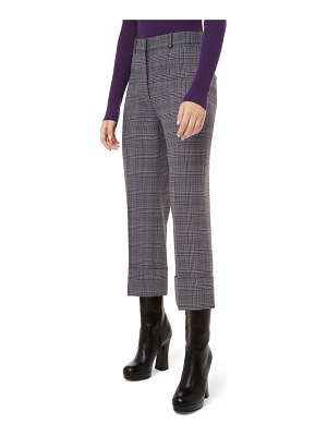 Michael Kors Collection Glen Plaid Wool Cropped Trousers