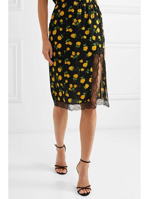Michael Kors Collection lace-trimmed floral-print silk-crepe skirt