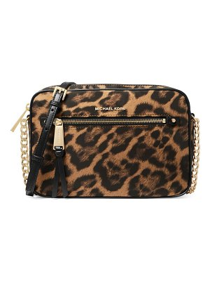 Michael Kors Collection large polly leopard-print leather crossbody