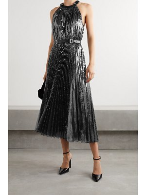 Michael Kors Collection leather-trimmed pleated sequined tulle halterneck midi dress