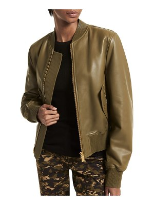 Michael Kors Collection Leather Zip-Front Bomber Jacket