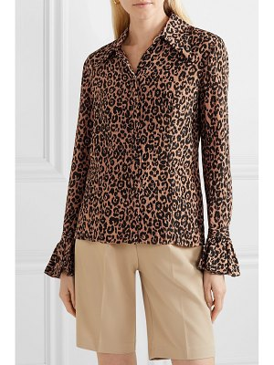 Michael Kors Collection leopard-print crinkled silk-crepe blouse