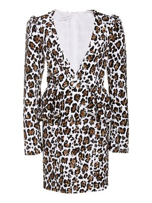 Michael Kors Collection leopard-print embellished crepe peplum dress