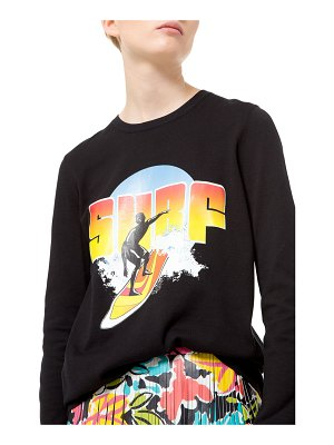 Michael Kors Collection Long-Sleeve Compact-Cotton Surf Graphic Tee