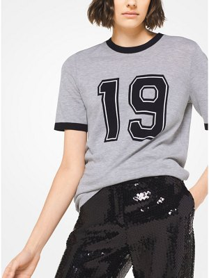 Michael Kors Collection Melange Cotton 1981 Varsity Tee