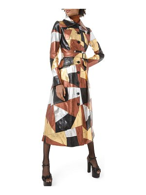 Michael Kors Collection Metallic-Patchwork Leather Trench Coat