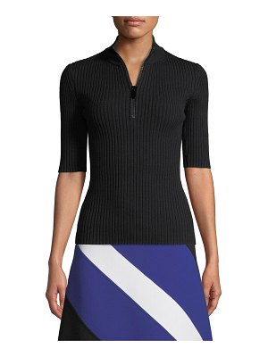 Michael Kors Collection Mock-Neck Zip-Front Elbow-Sleeve Ribbed Merino Pullover