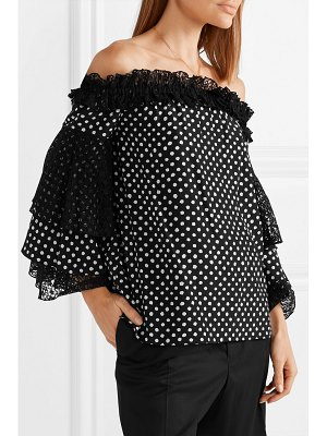 Michael Kors Collection off-the-shoulder lace-trimmed polka-dot silk crepe de chine top
