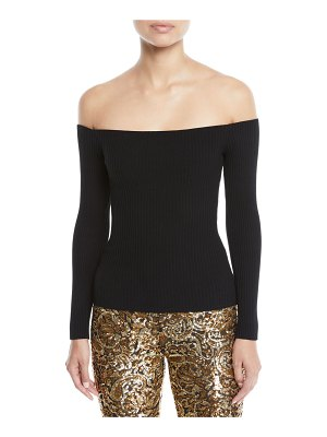 Michael Kors Collection Off-the-Shoulder Long-Sleeve Ribbed Top