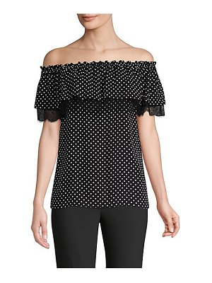 Michael Kors Collection off-the-shoulder polka-dot silk blouse