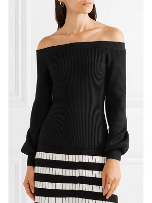 Michael Kors Collection off-the-shoulder ribbed merino wool-blend top