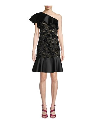 Michael Kors Collection One-Shoulder Duchess Ruffle Floral-Lace Cocktail Dress