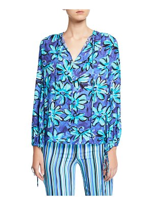 Michael Kors Collection Painted Daisy Crushed Georgette Long-Sleeve Tunic Blouse