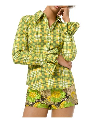 Michael Kors Collection Painterly Madras Poplin Crushed Bell-Sleeve Shirt