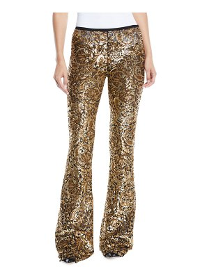 Michael Kors Collection Paisley-Paillette Flared-Leg Pants