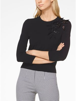 Michael Kors Collection Palm Embroidered Stretch-Viscose Pullover
