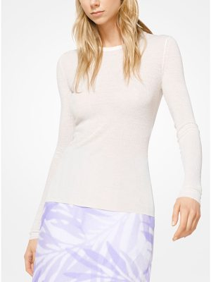 Michael Kors Collection Ribbed Viscose And Linen Pullover