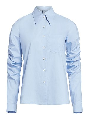 Michael Kors Collection ruched-sleeve poplin button-down shirt