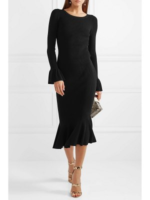 Michael Kors Collection ruffle-trimmed ribbed stretch-knit midi dress