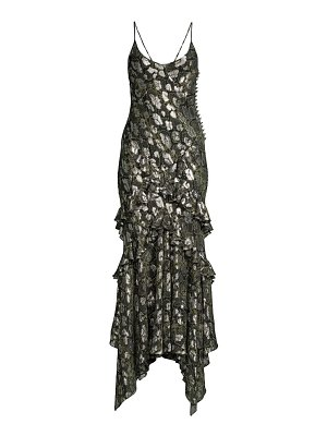 Michael Kors Collection ruffled metallic python-print slip dress