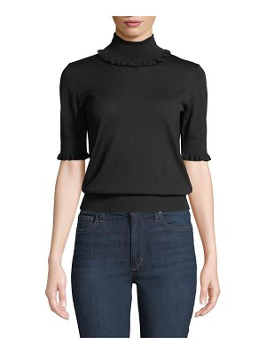 Michael Kors Collection Ruffled-Trim Turtleneck Elbow-Sleeve Merino Knit Top