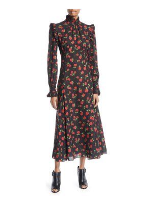 Michael Kors Collection Ruffled Turtleneck Long-Sleeve Rose-Print Georgette Long Dress