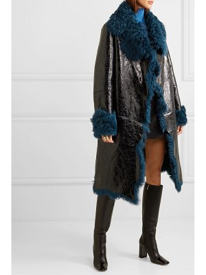 Michael Kors Collection shearling-lined glossed cracked-leather coat
