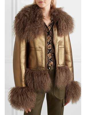 Michael Kors Collection shearling-trimmed metallic leather bomber jacket