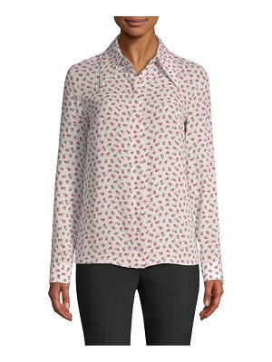 Michael Kors Collection silk floral button-up blouse