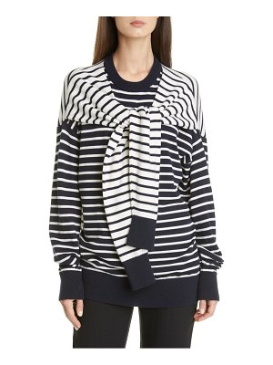 Michael Kors Collection sleeve detail stripe cashmere sweater