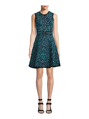 Michael Kors Collection Sleeveless Zip-Front Fit-and-Flare Leopard-Print Dress w/ Paneled Full Skirt