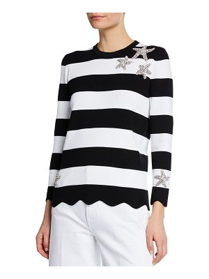 Michael Kors Collection Starfish-Embellished Striped Compact Cotton Tee