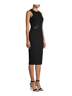 Michael Kors Collection stretch boucle belted sheath dress