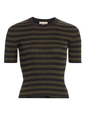 Michael Kors Collection striped lurex rib-knit cropped tee